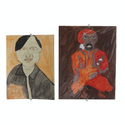 "Pair of Rosalind Bush Paintings ""Red Man Dancing"" and ""Man with Yellow Eyes"""