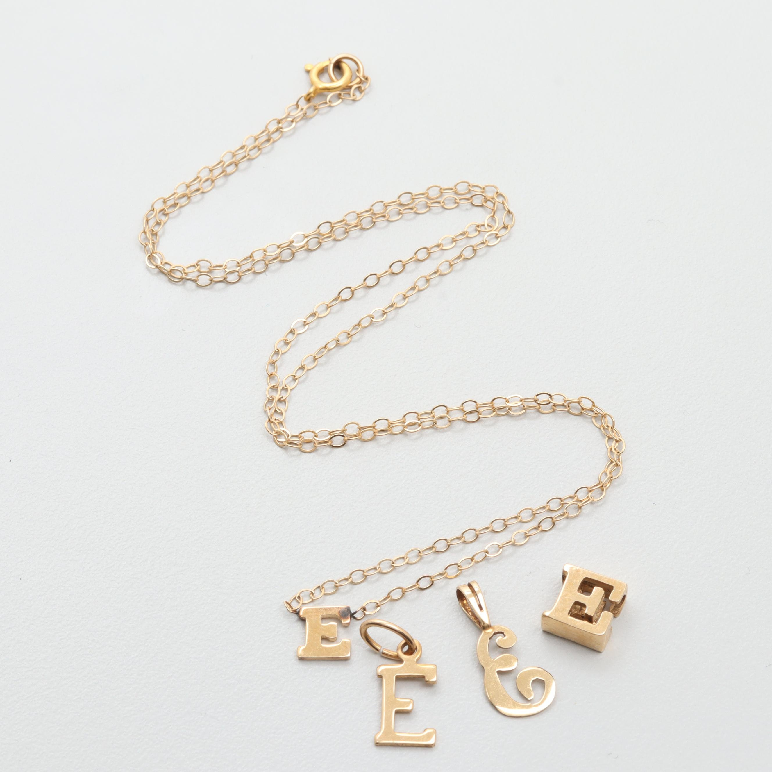 "14K Yellow Gold ""E"" Charms and Necklace"