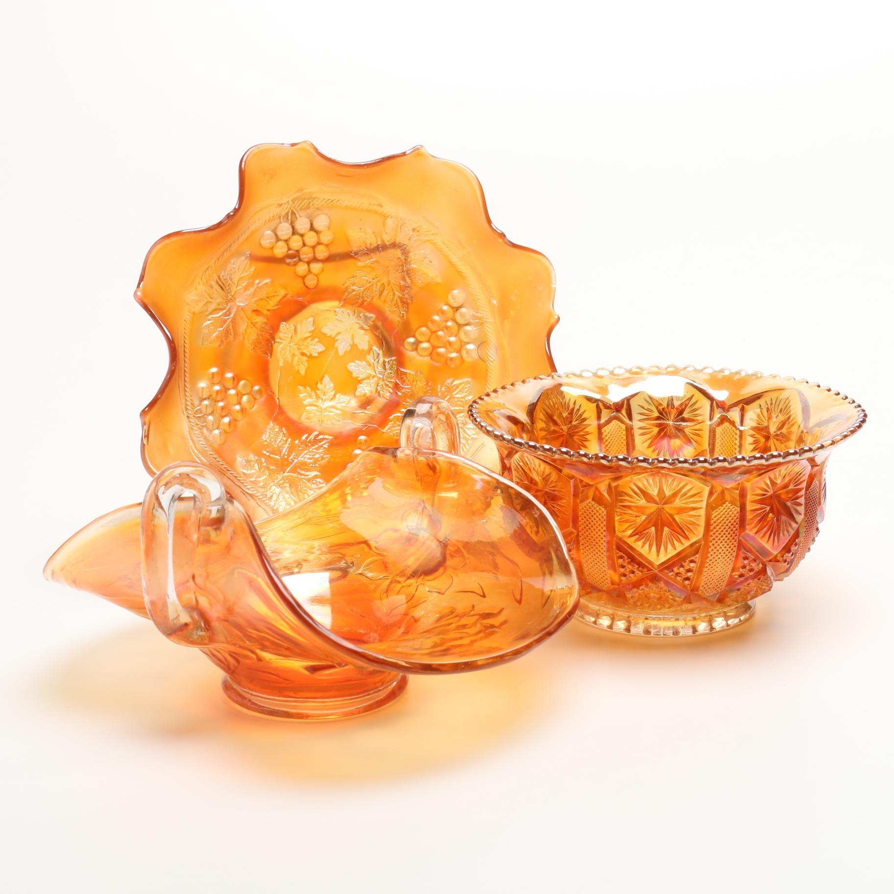 Marigold Carnival Glass Bowls