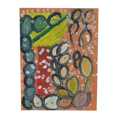 "Curtis Davis 2018 Acrylic Painting on Mat Board ""Flower"""