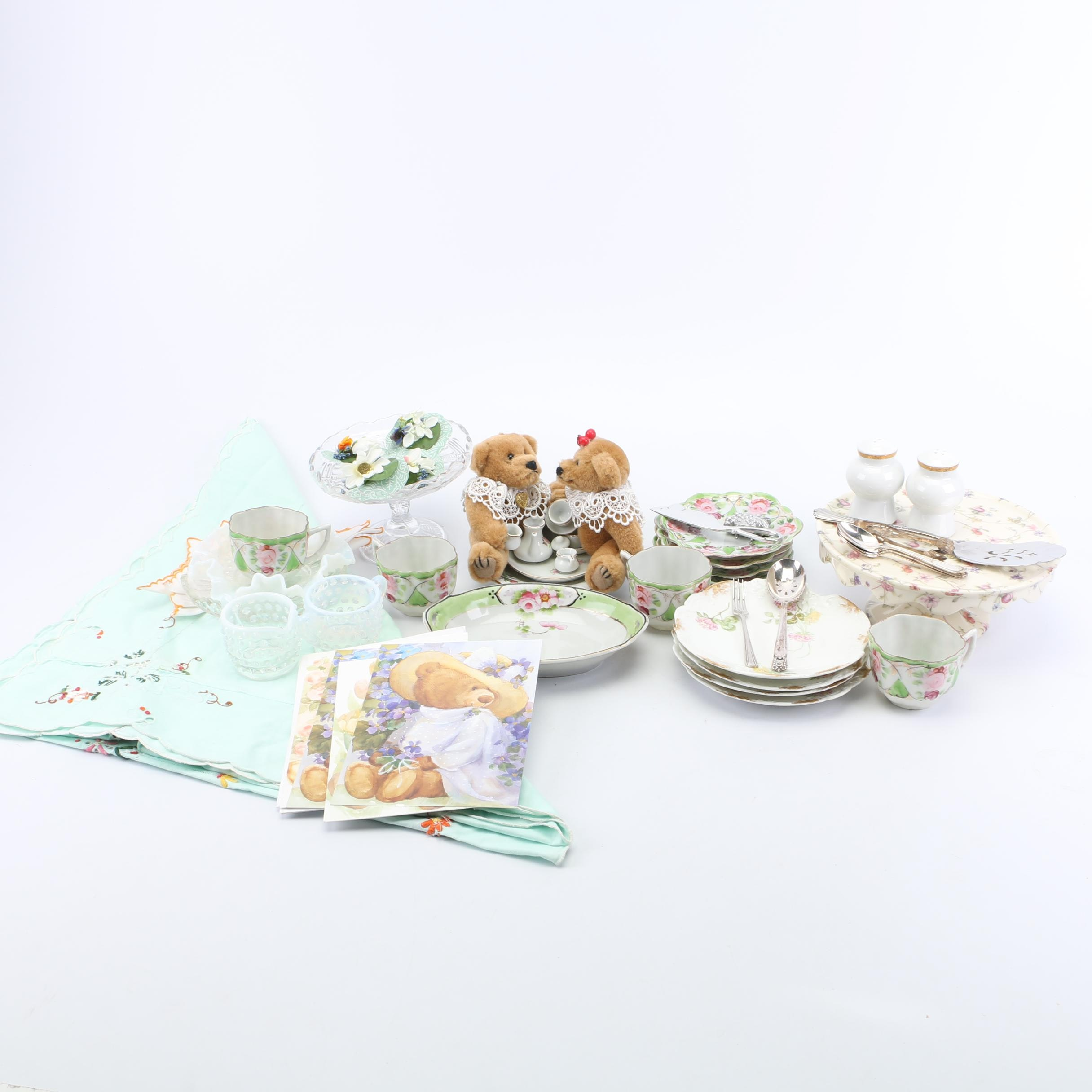 Tableware Including Antique Delinières Porcelain Plates with Lynn's Teddy Bears