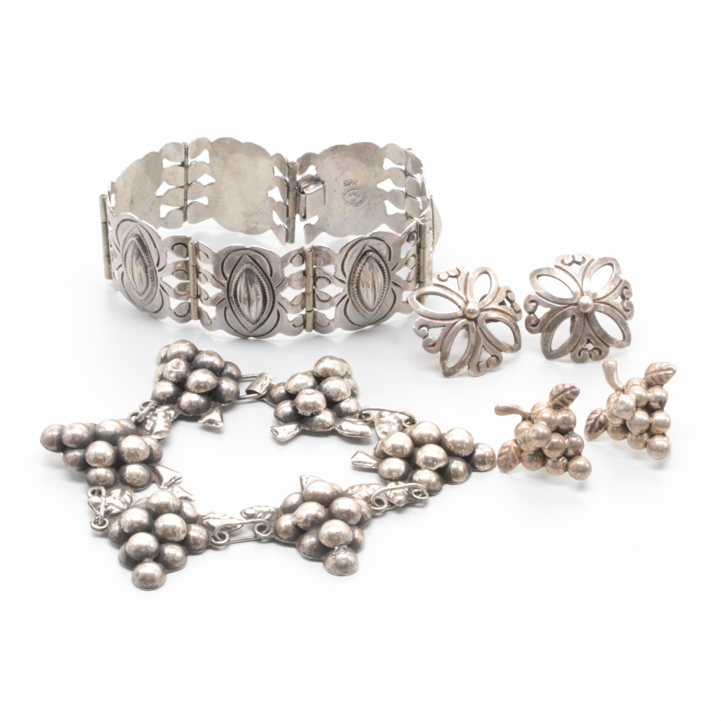 Sterling Silver Bracelets and Earrings Including Mexican Sterling