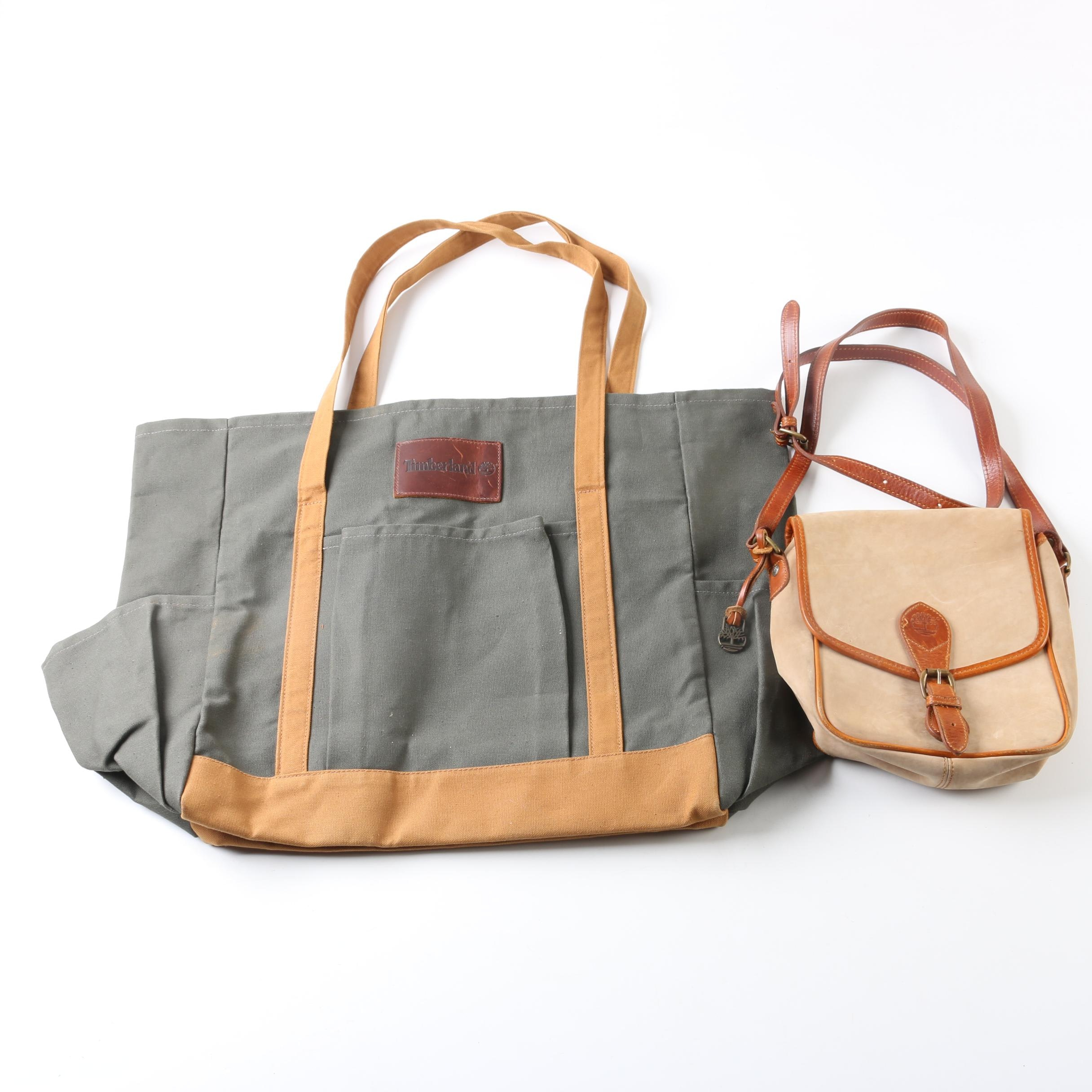 Timberland Canvas Tote and Suede Crossbody Bag