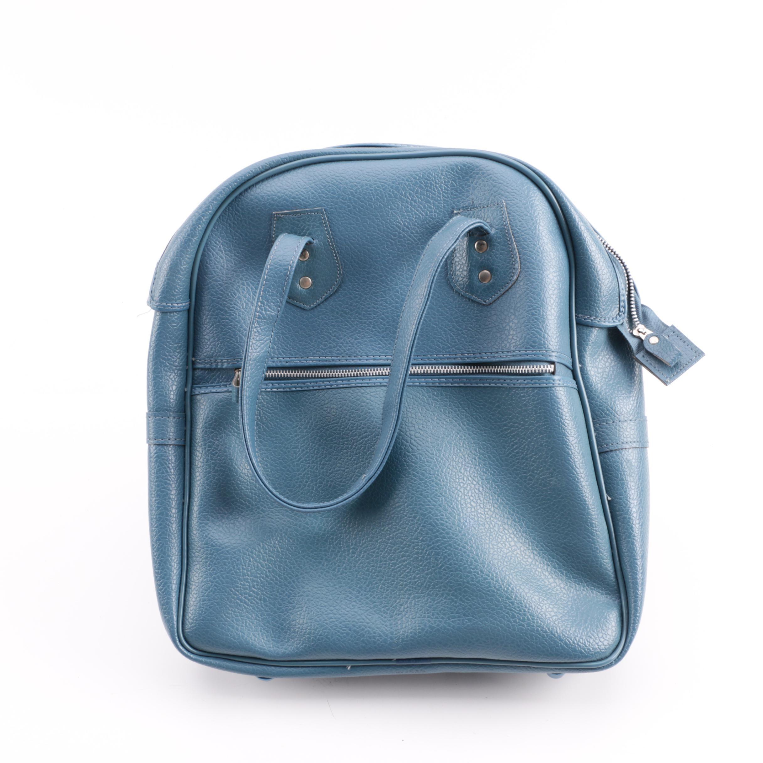 Vintage Blue Faux Pebbled Leather Carry-On Bag