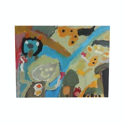 "David Callahan 2011 Acrylic Painting on Wood ""Dogs and Family"""