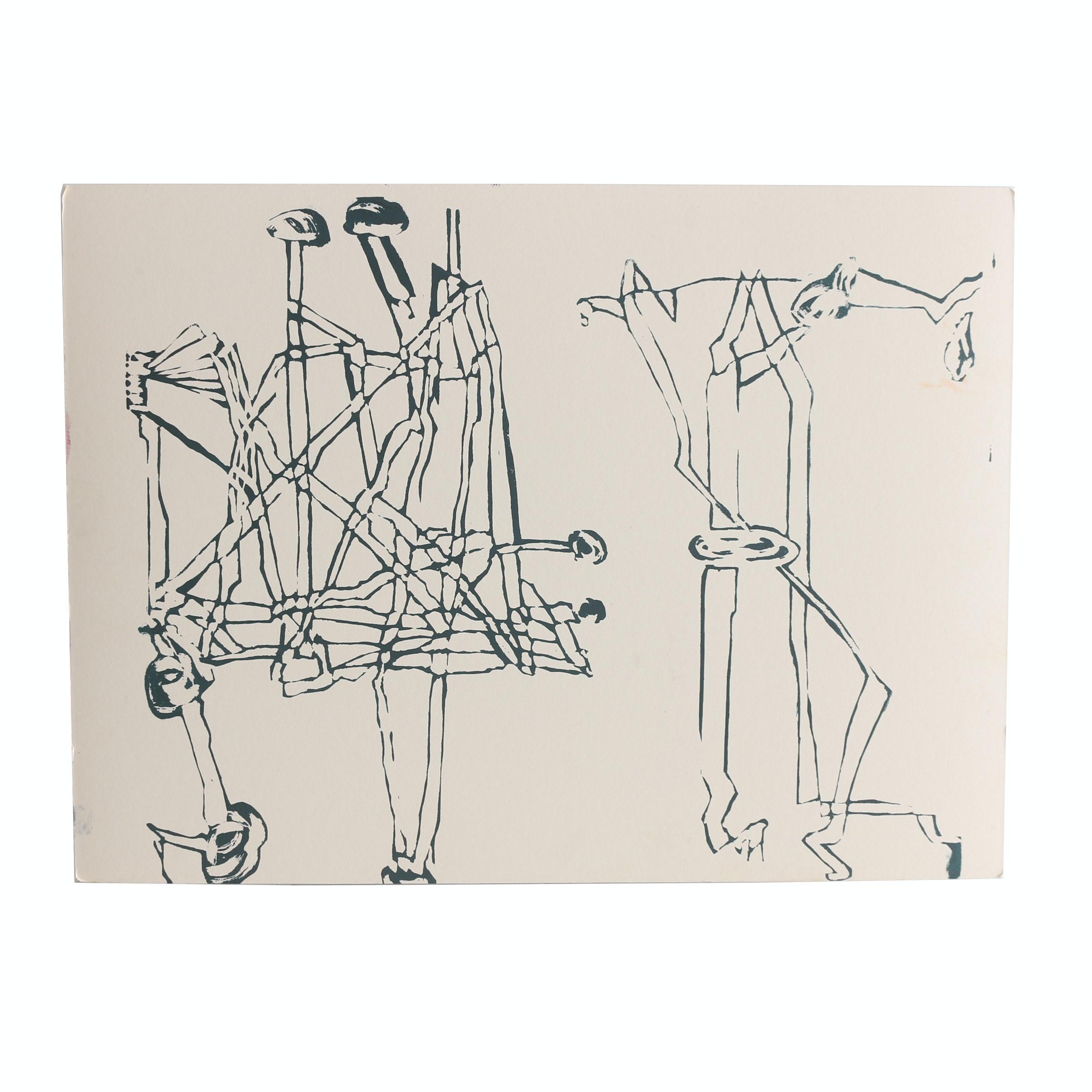 Robert Bolubasz and Unknown Artist 2016 Relief Print on Illustration Board