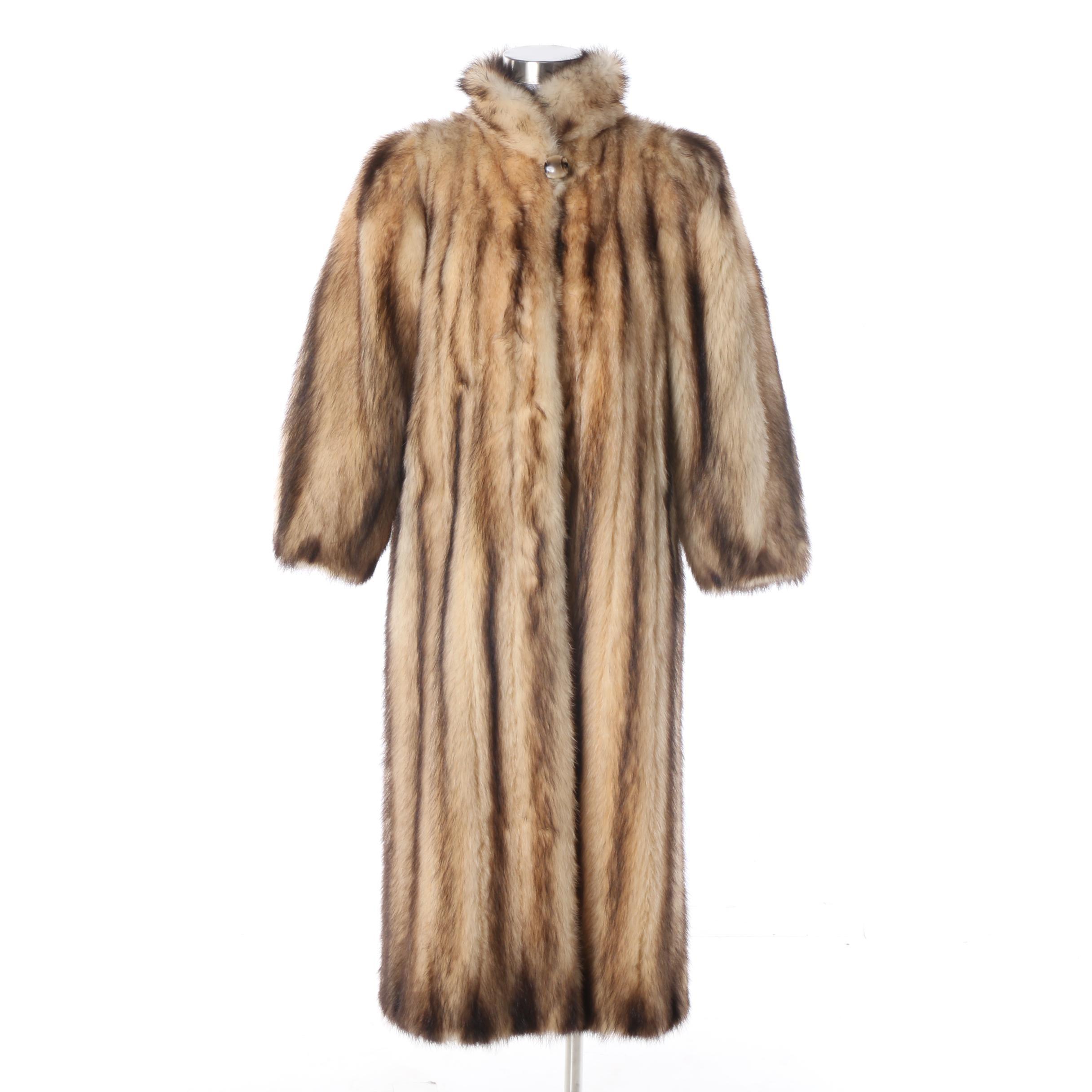 Women's Vintage Tibor Furs Fitch Fur Full-Length Coat