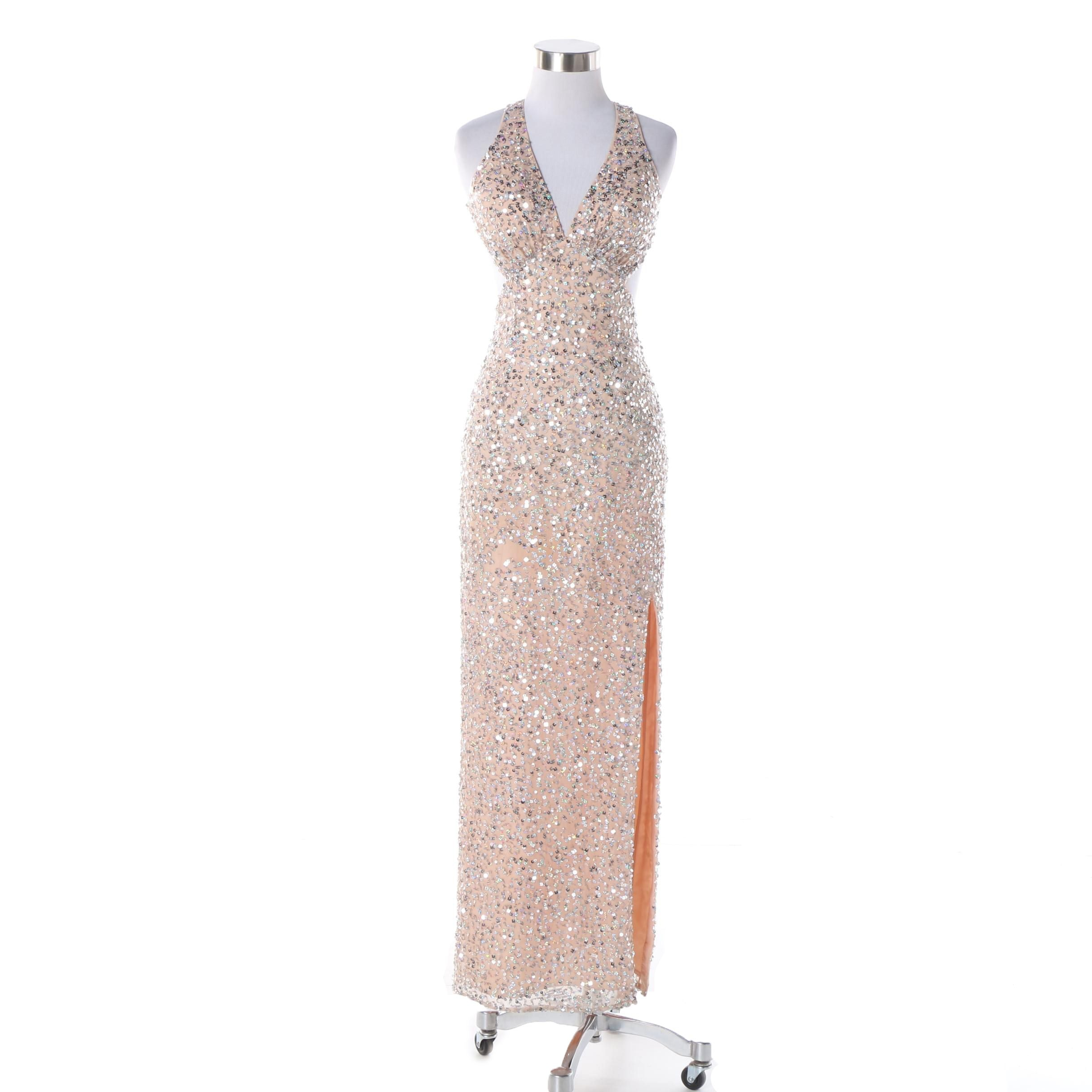 Sean Collection Pink Silk Blend Sequined Racer Back Gown
