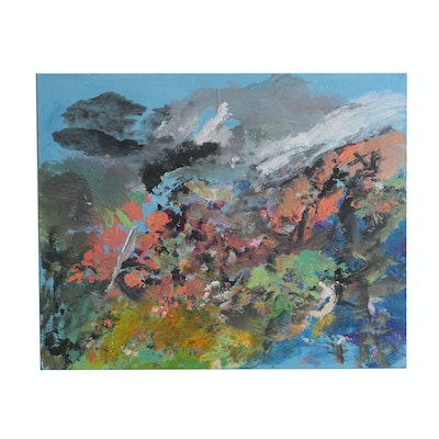 Joel Whitaker 2008 Acrylic Painting on Canvas Board Abstract Landscape