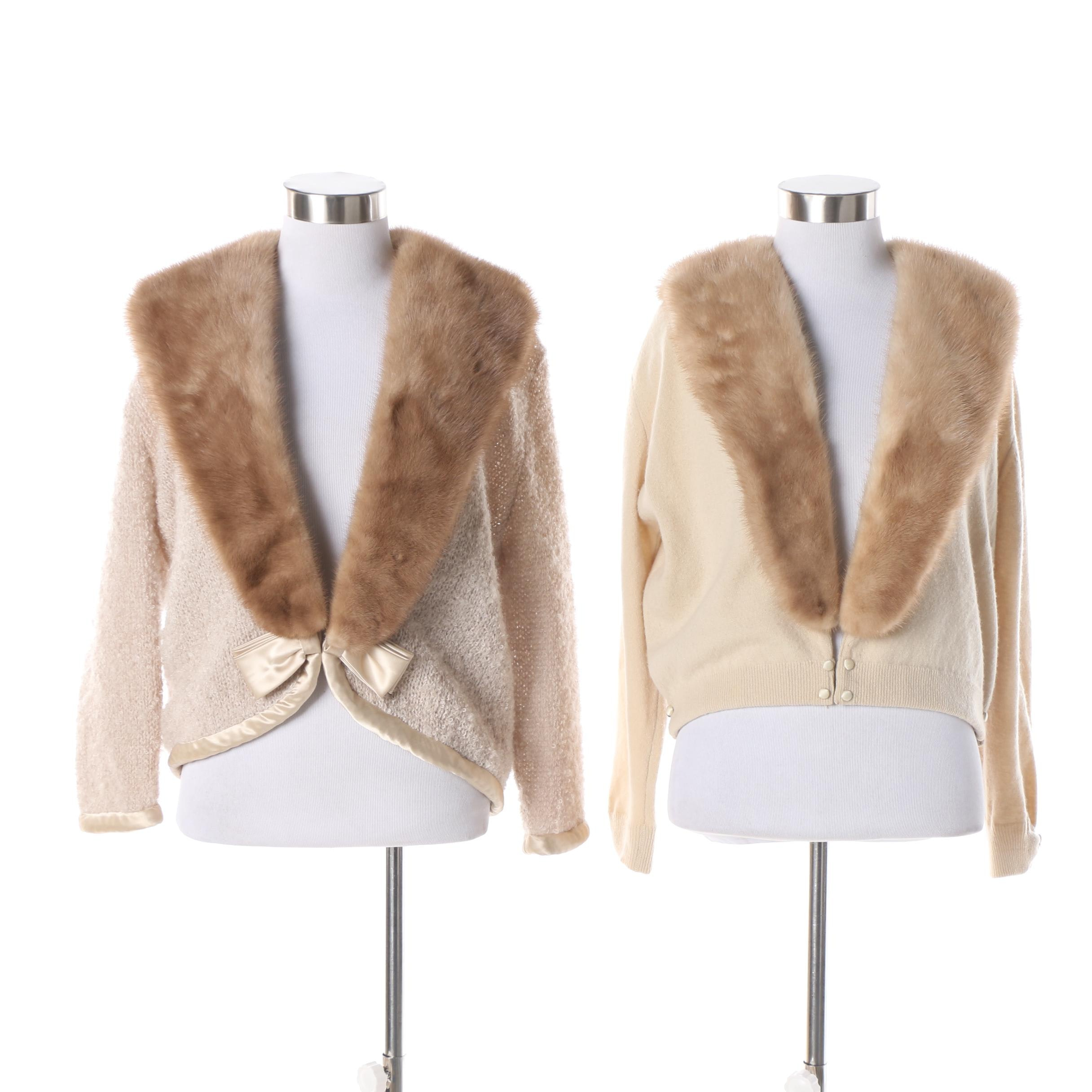 Vintage Cardigan Sweaters with Mink Fur Collars featuring Marshall Fields & Co.