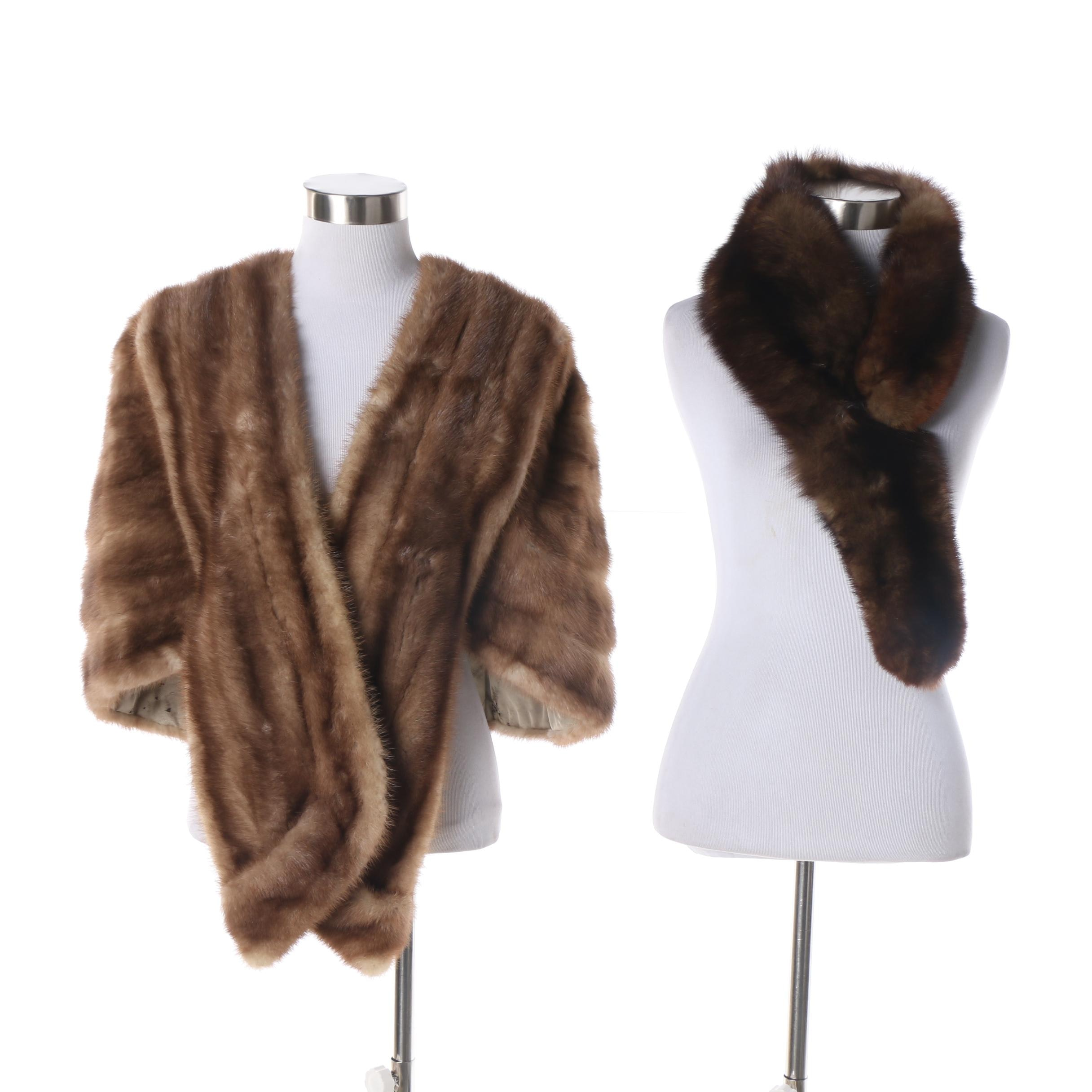 Vintage A. S. Rich Mink Fur Stole and Marten Fur Collar