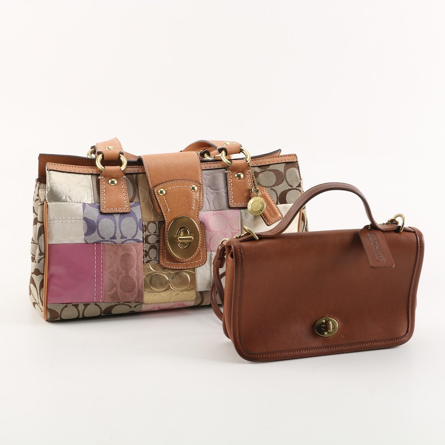 Coach Signature Patchwork Satchel and Casino Brown Leather Crossbody Bag    EBTH ae657070844eb