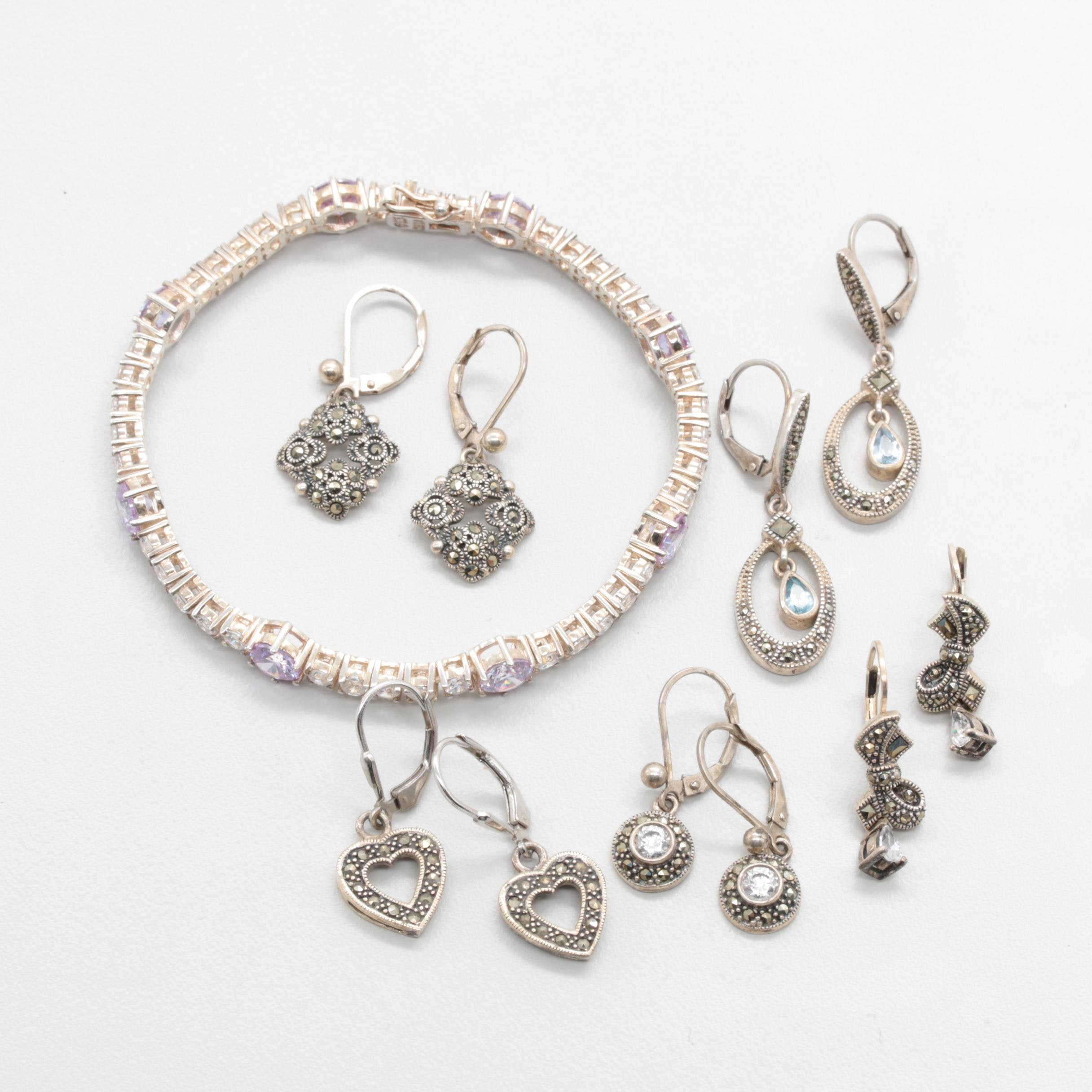 Sterling Silver Jewelry Selection Including Marcasite and Synthetic Spinel