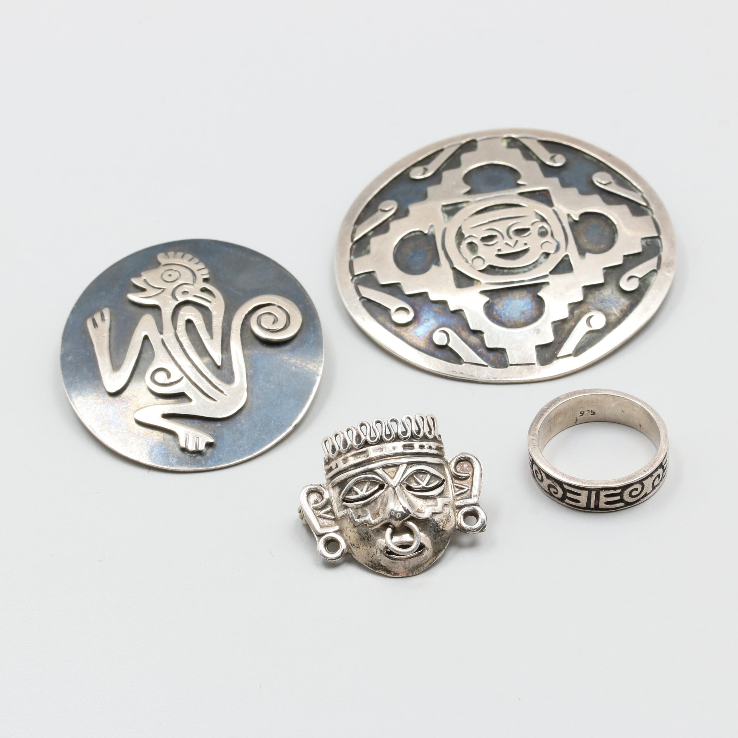 Sterling Silver Brooches and a Ring Including Mexican and Taxco