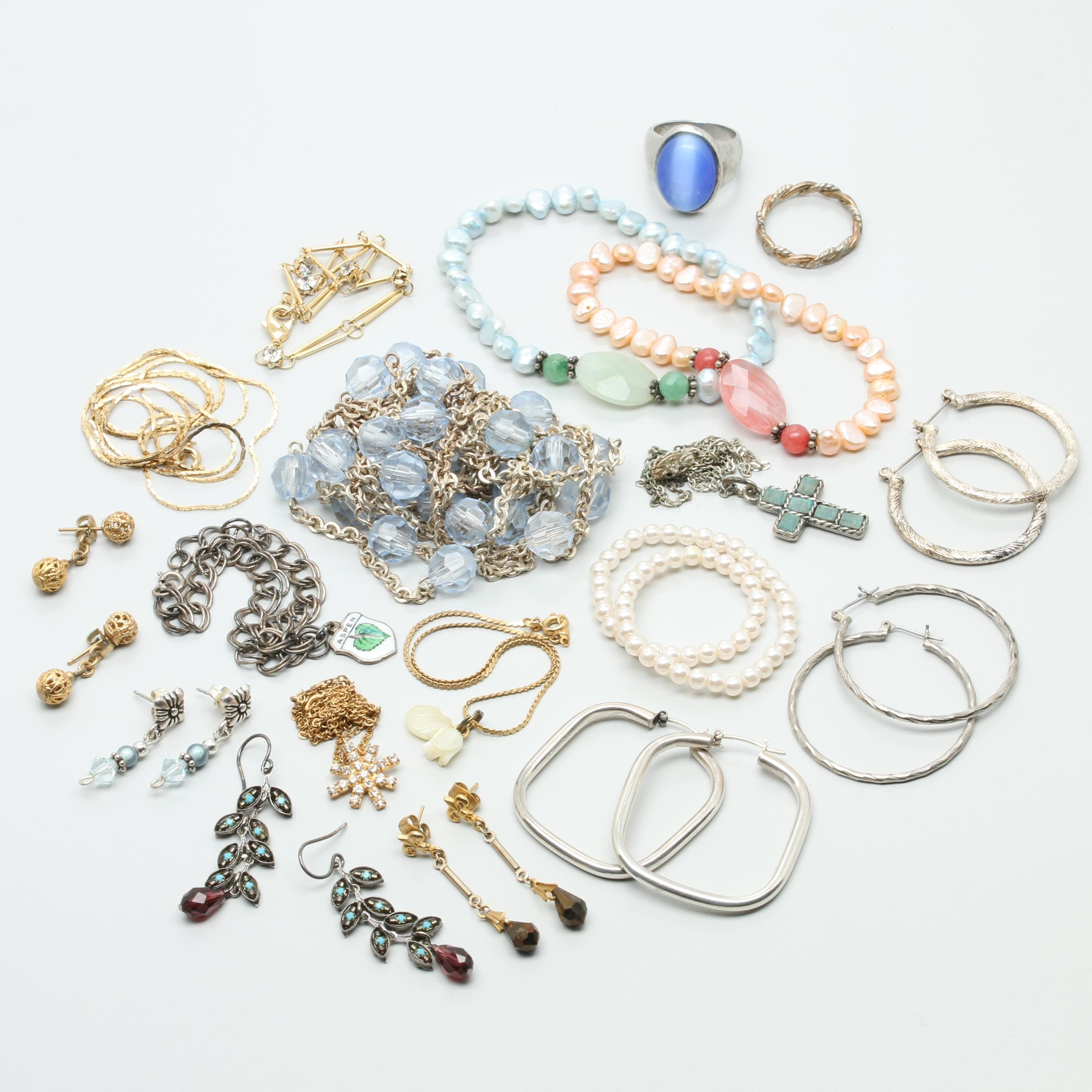 Assortment of Costume Cultured Pearl, Imitation Pearl and Glass Jewelry