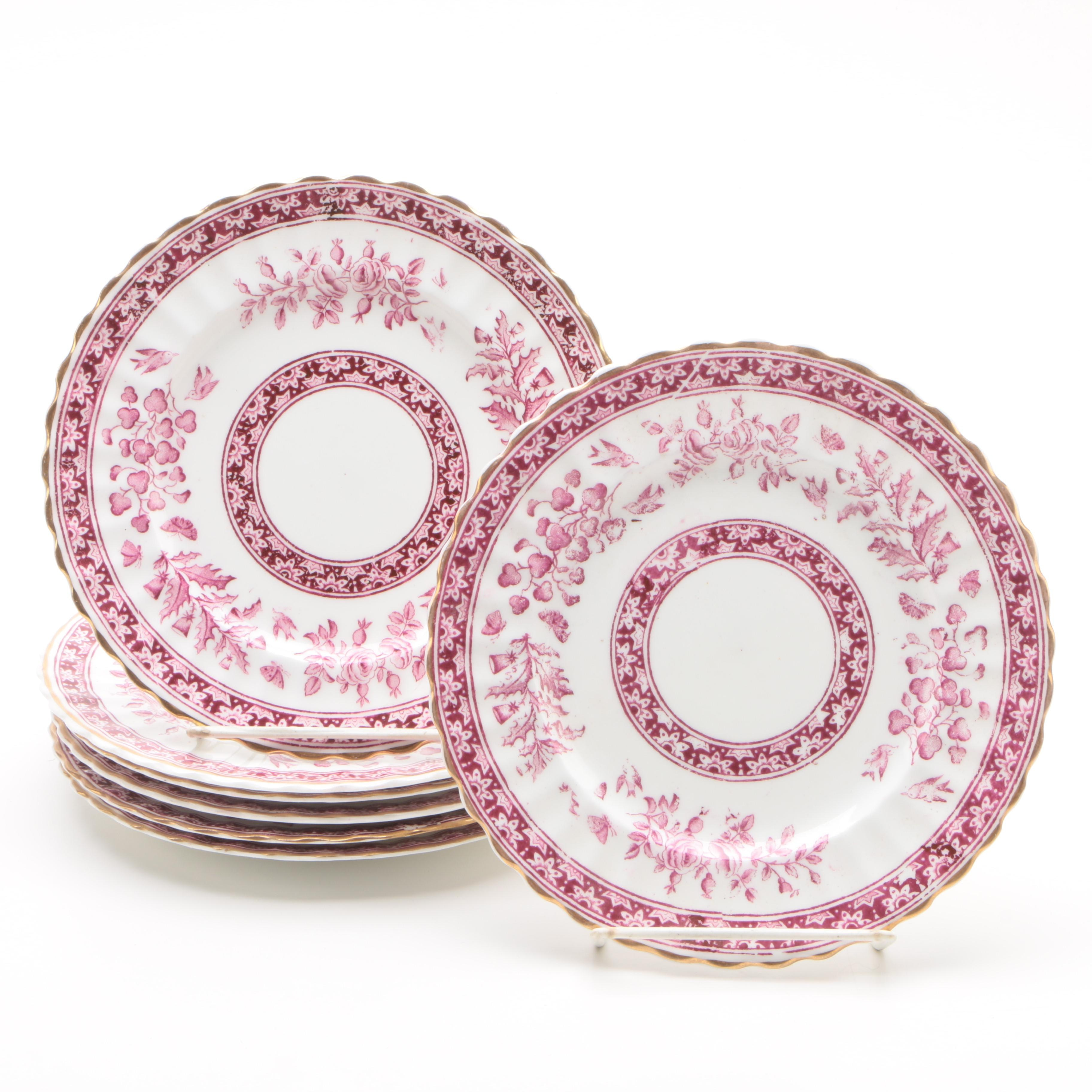 Sampson Bridgwood & Son Transfer-Printed Porcelain Salad Plates