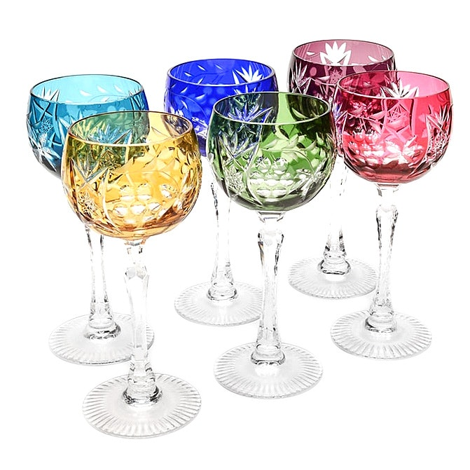 Bohemian Cased Cut to Clear Crystal Hock Wine Glasses