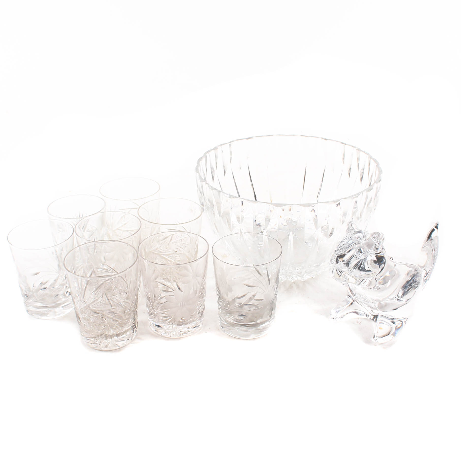 Crystal Decor and and Cut Glass Old Fashioned Glasses