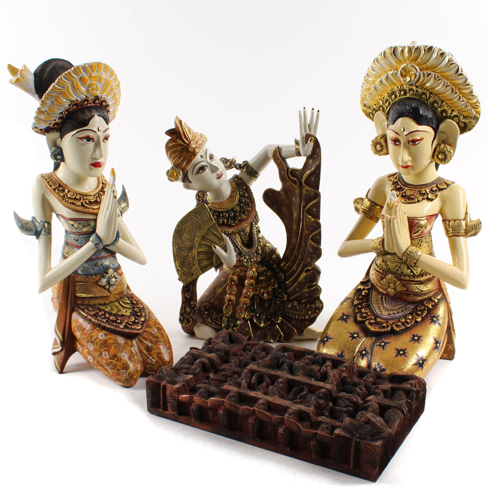 Thai Wooden Figural Carvings with Architectural Accent