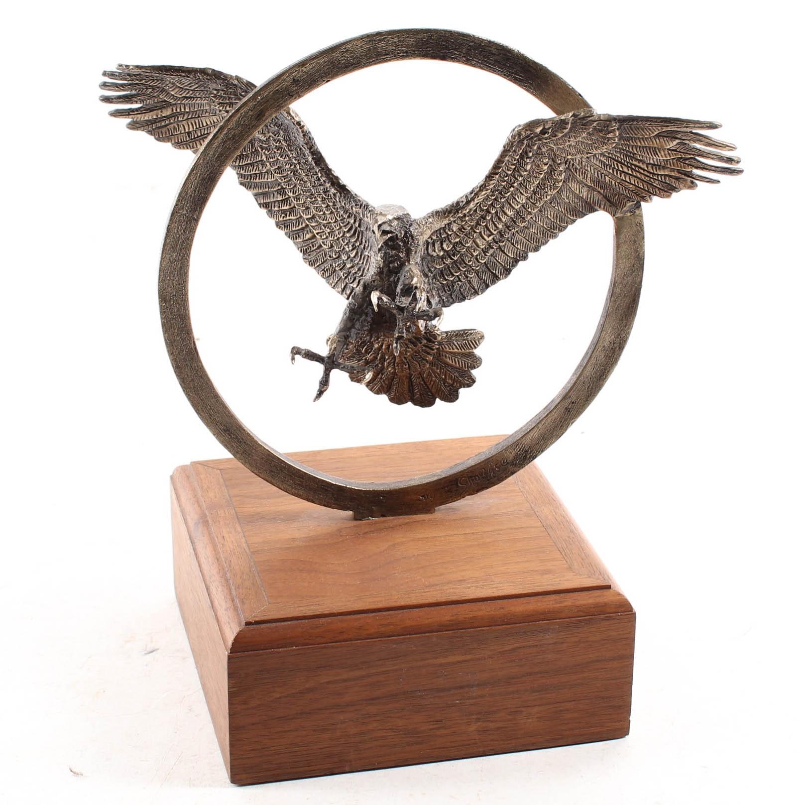 Wally Shoop Bronze Flying Eagle Statue