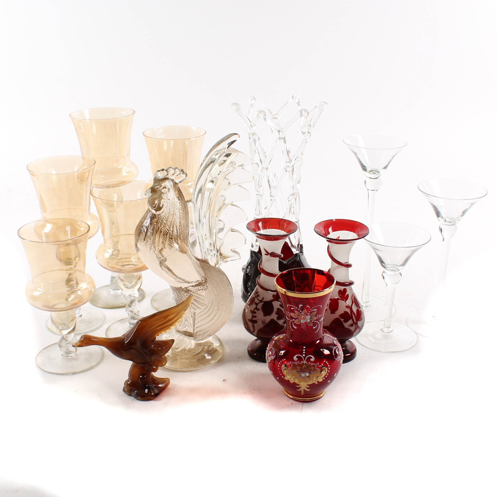 Ruby Flashed Vases and Decorative Glass Tableware