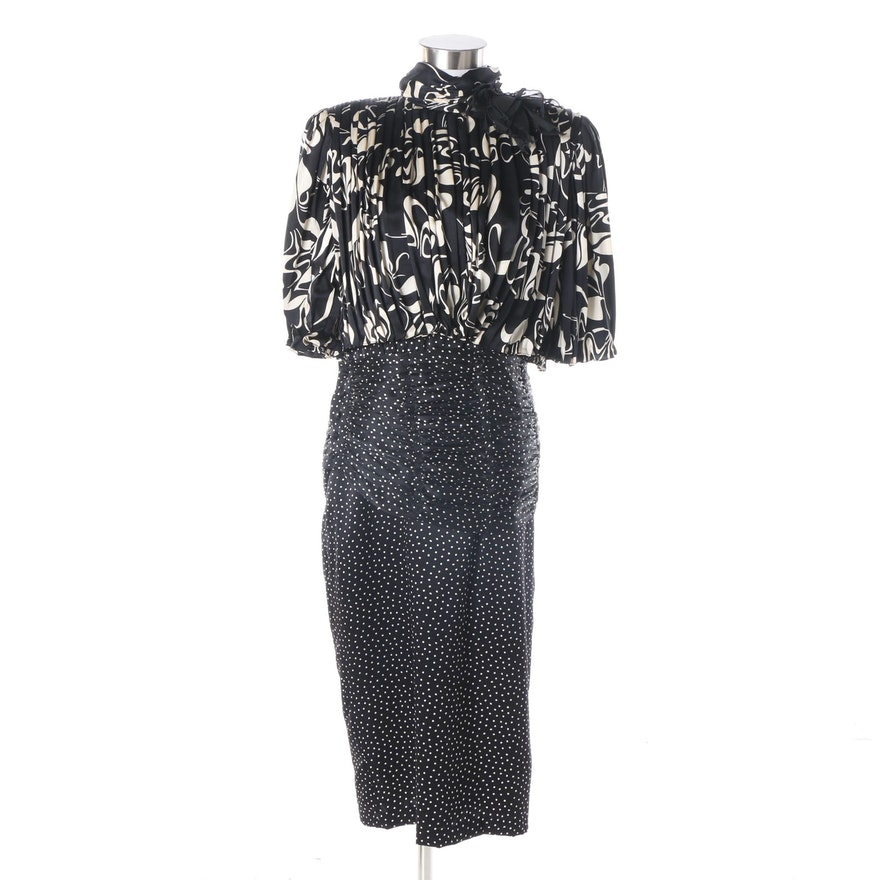 61846dfebc Women s Vintage Saint Romei Black and White Ruched Silk Cocktail Dress ...