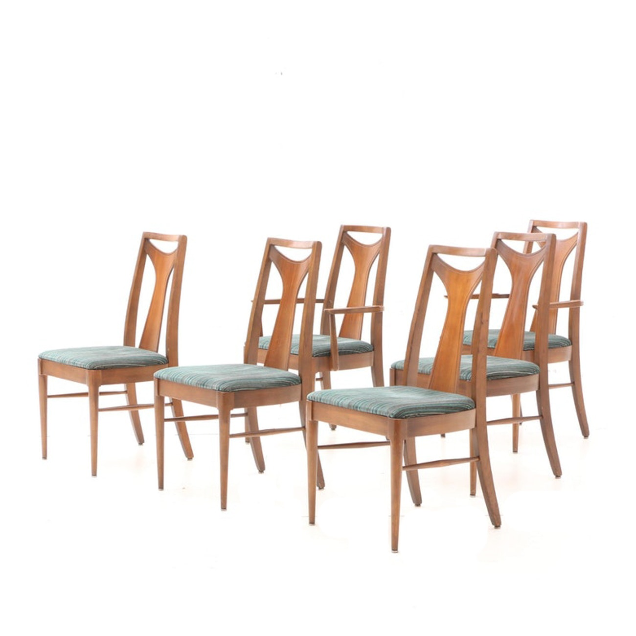 Six Mid Century Modern Walnut Dining Chairs