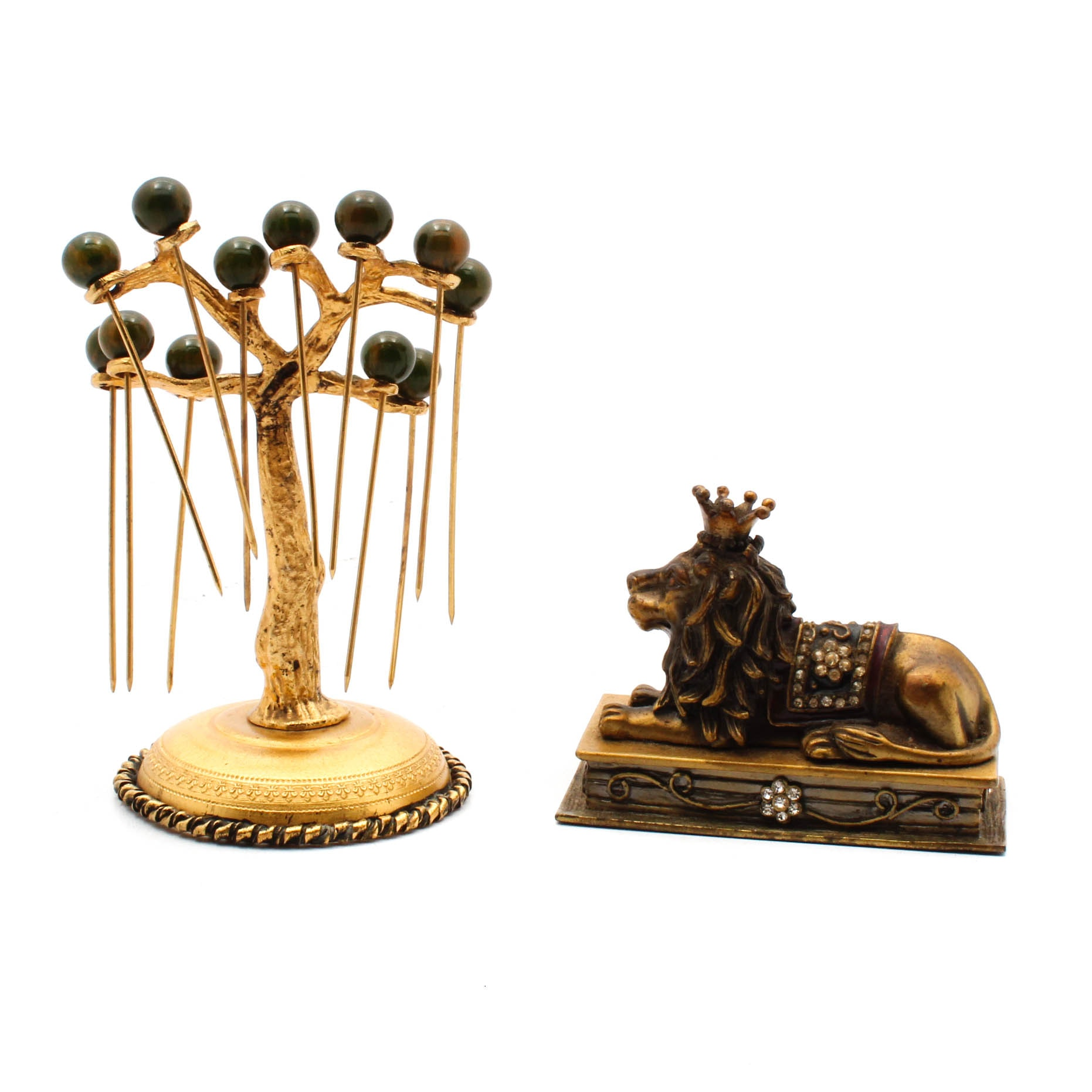 Gold-Tone Hair Pins with Holder and Trinket Box