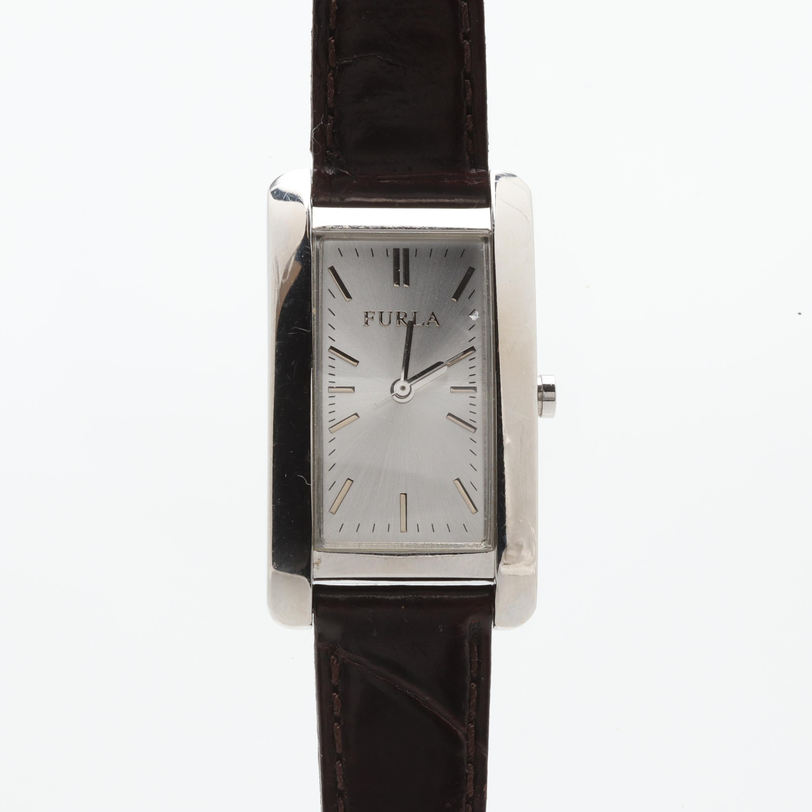 Furla Stainless Steel Wristwatch with Black Leather Strap