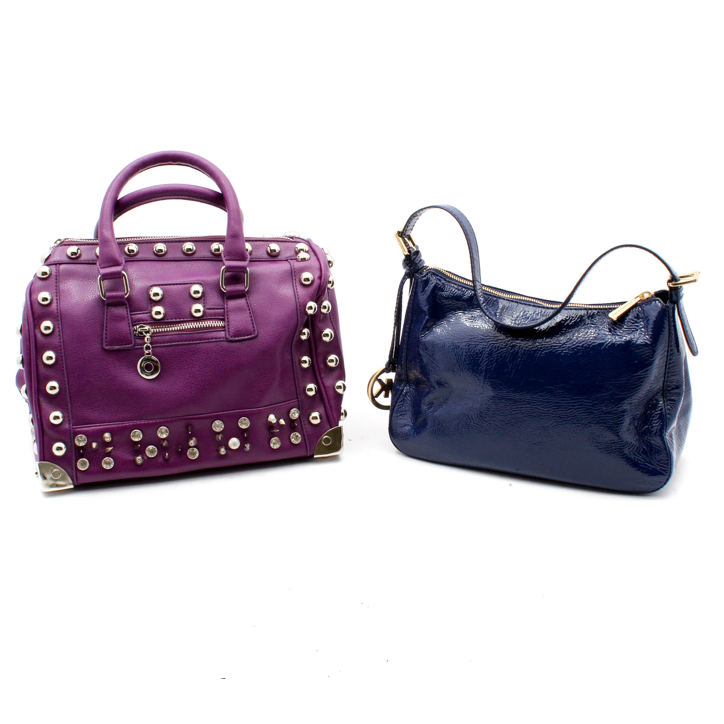 Two Handbags Featuring MICHAEL Michael Kors Blue Patent Leather Bag