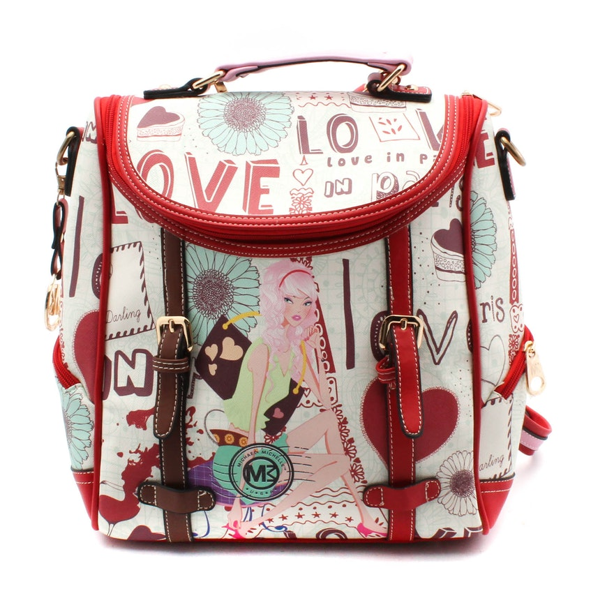 973d8e0eb494 Michael Michelle Coated Canvas and Leather Backpack Purse   EBTH