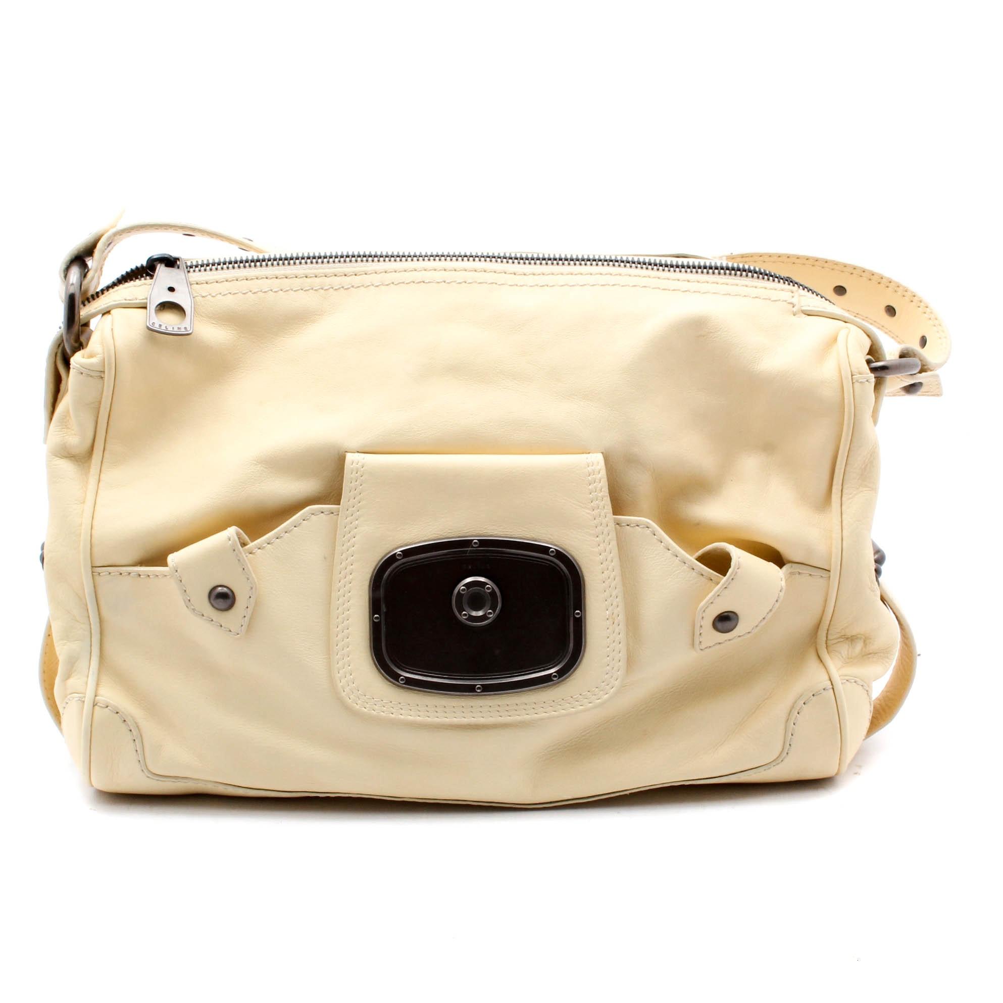 Celine Cream Leather Shoulder Bag