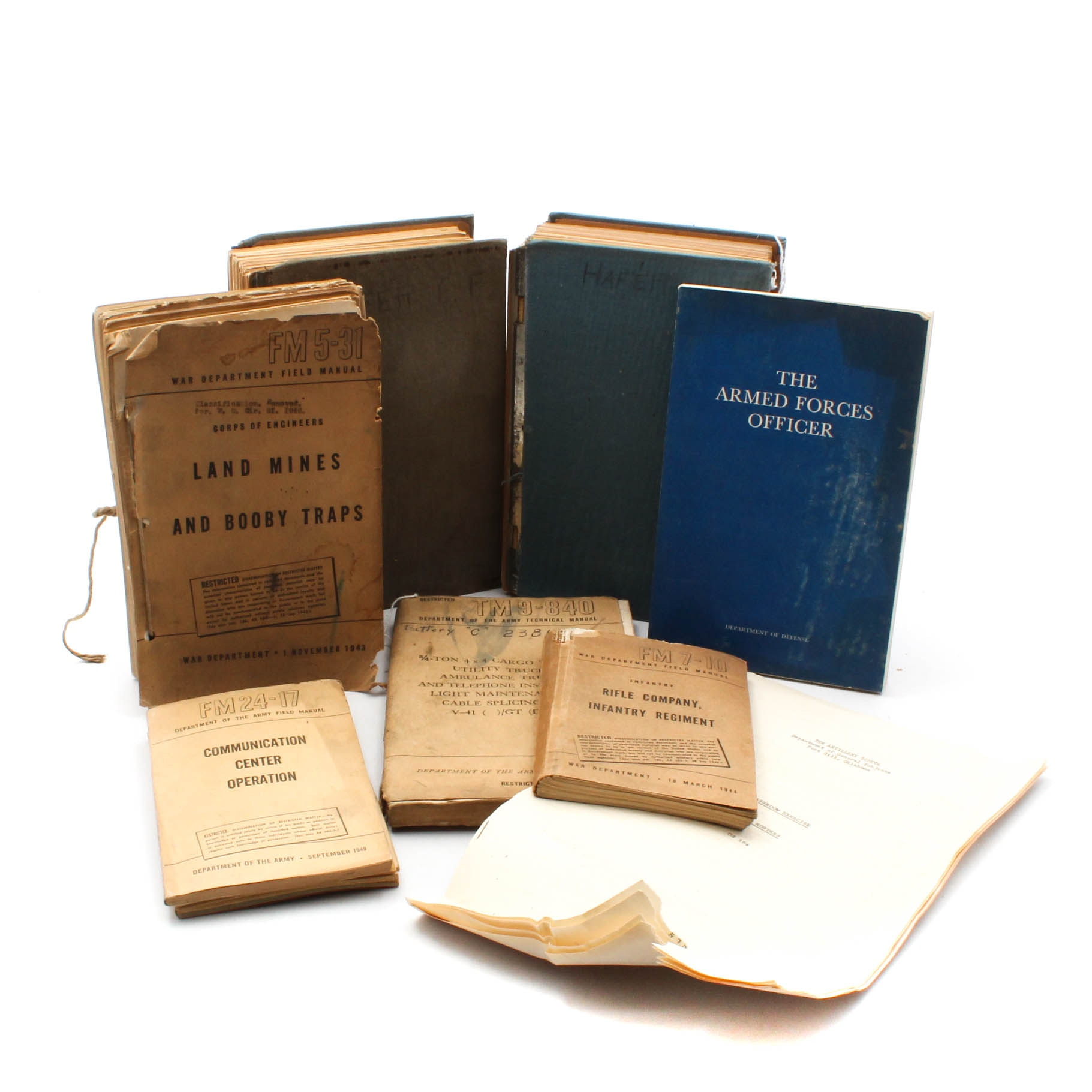 Vintage Military Books Featuring Manuals from the War Department