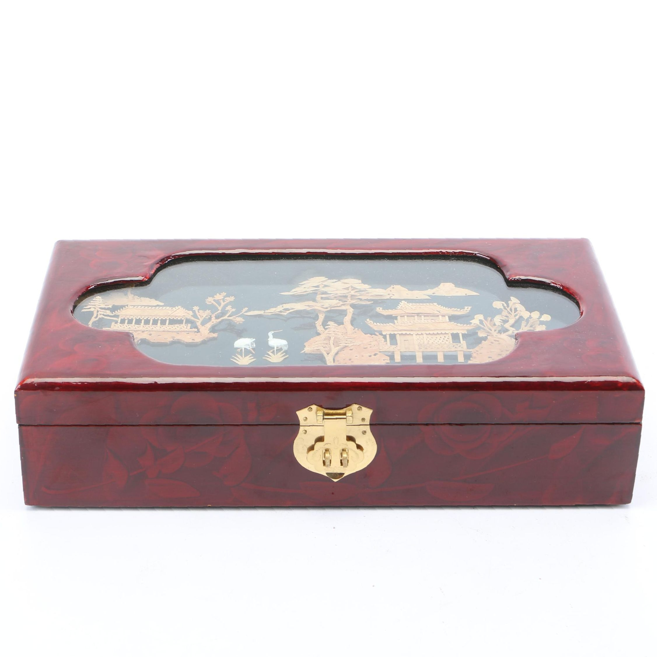 Chinese Lacquer Jewelry Box with Carved Cork Landscape in Shadowbox Top