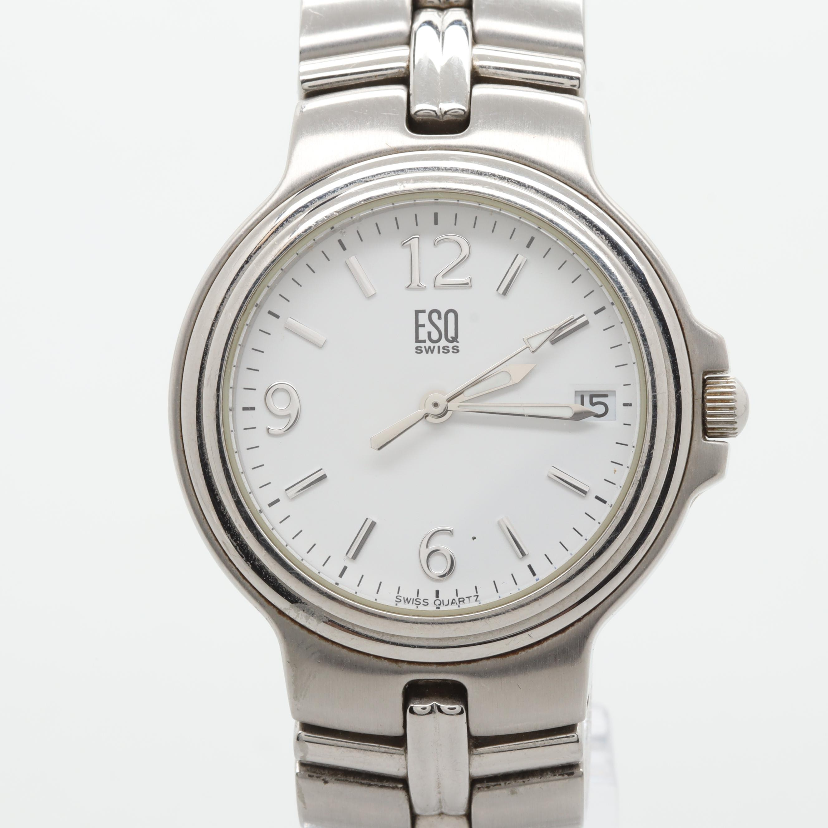 Esquire Stainless Steel White Dial Wristwatch