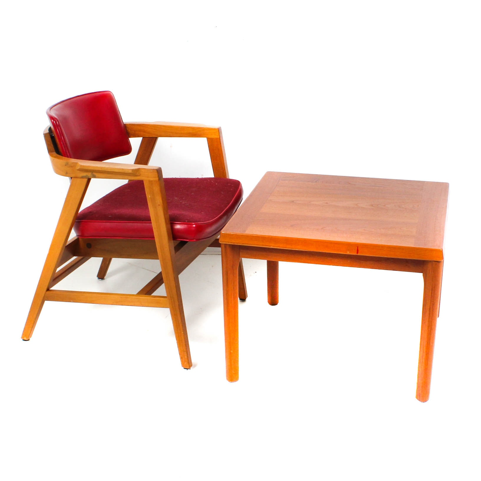 Mid Century Teak Office Chair and Side Table