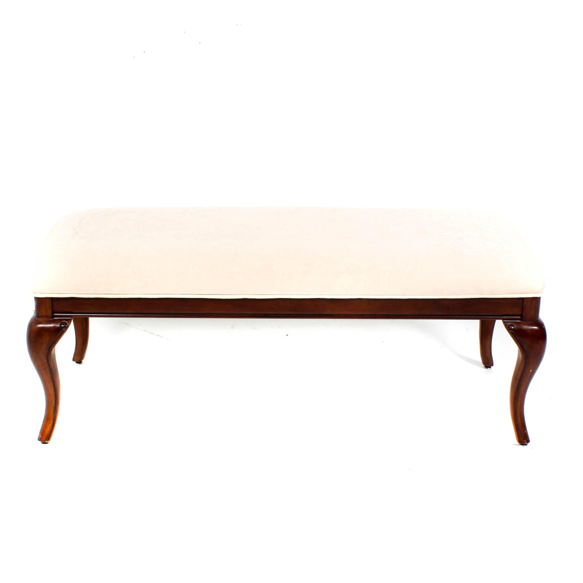 Cream Upholstered Long Bench