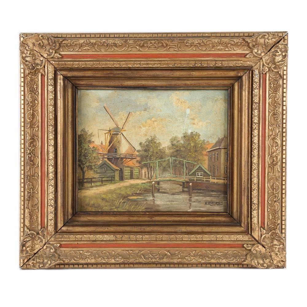 A. Baijens Landscape Oil Painting on Canvas