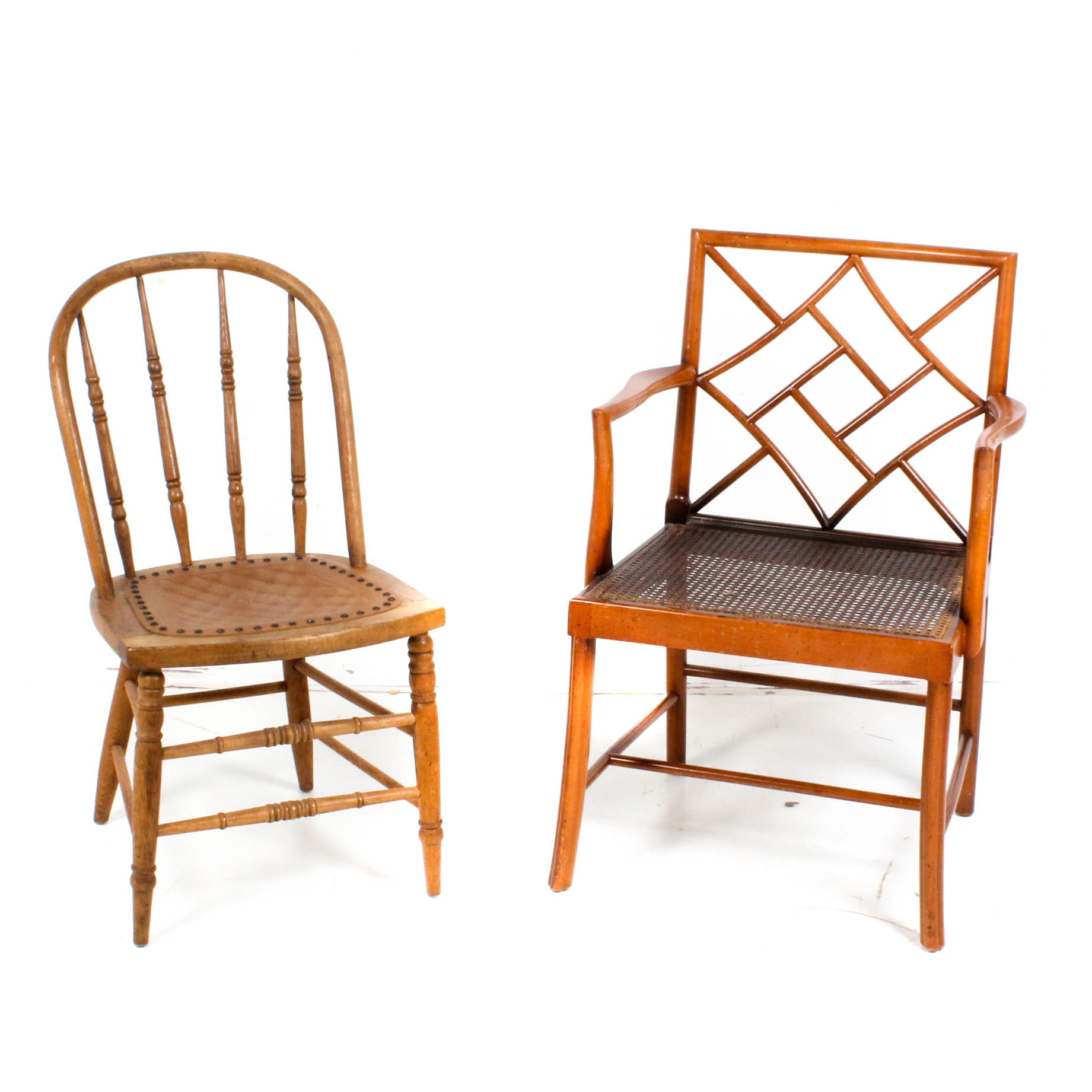 Caned and Nailhead Design Wooden Accent Chairs