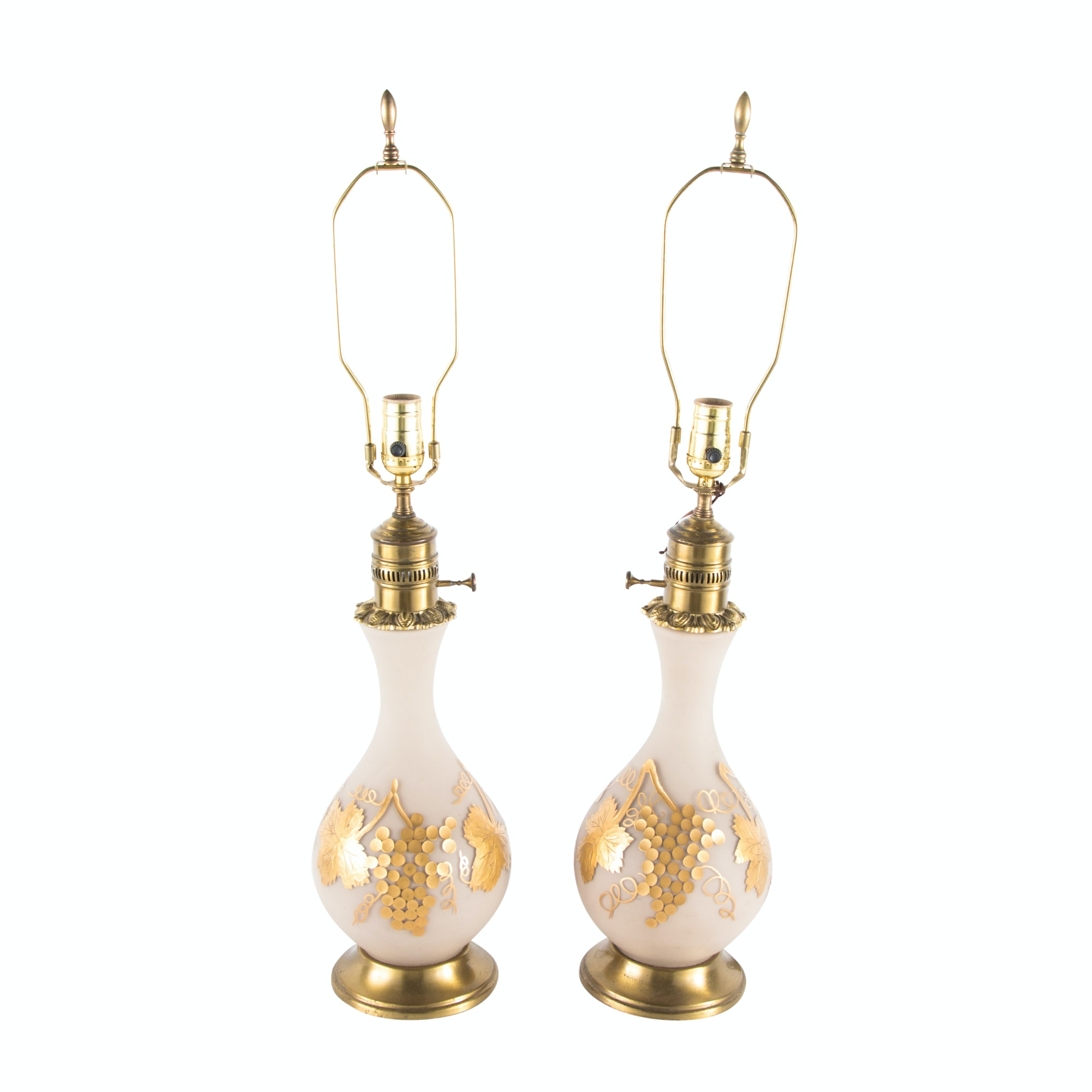 Pair of Gilt Painted and Frosted Glass Table lamps, 20th Century