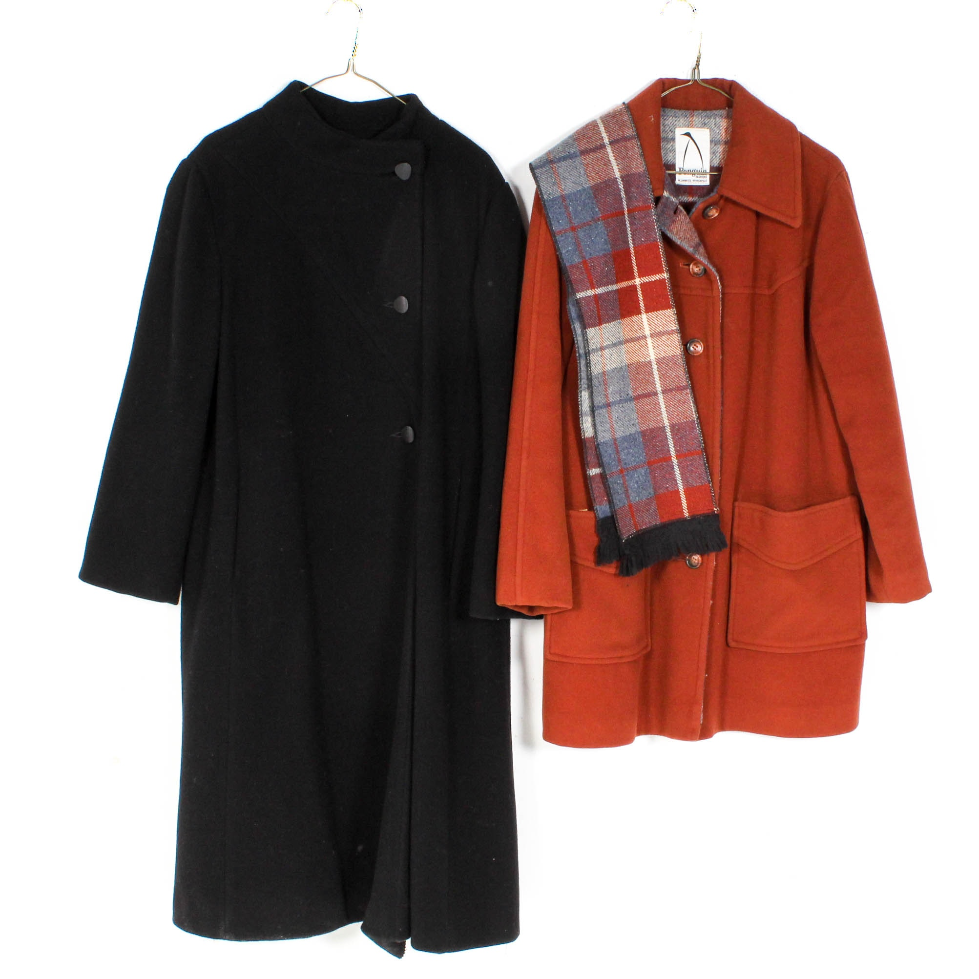 Women's Vintage Wool Coats and Scarf
