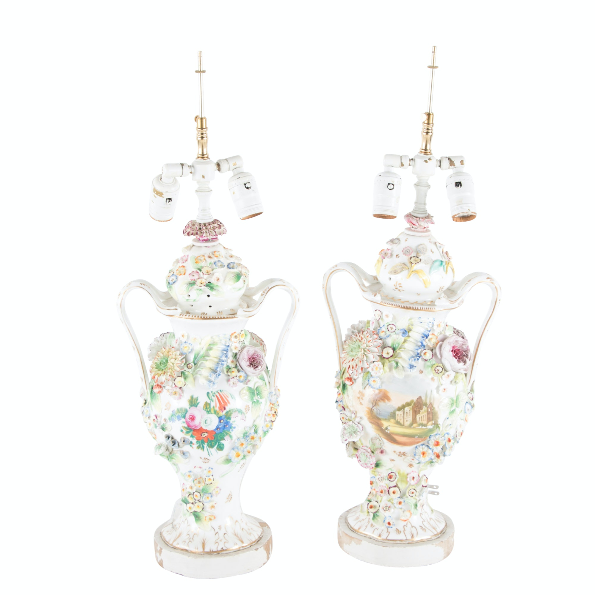 Capodimonte Style Floral Table Lamps