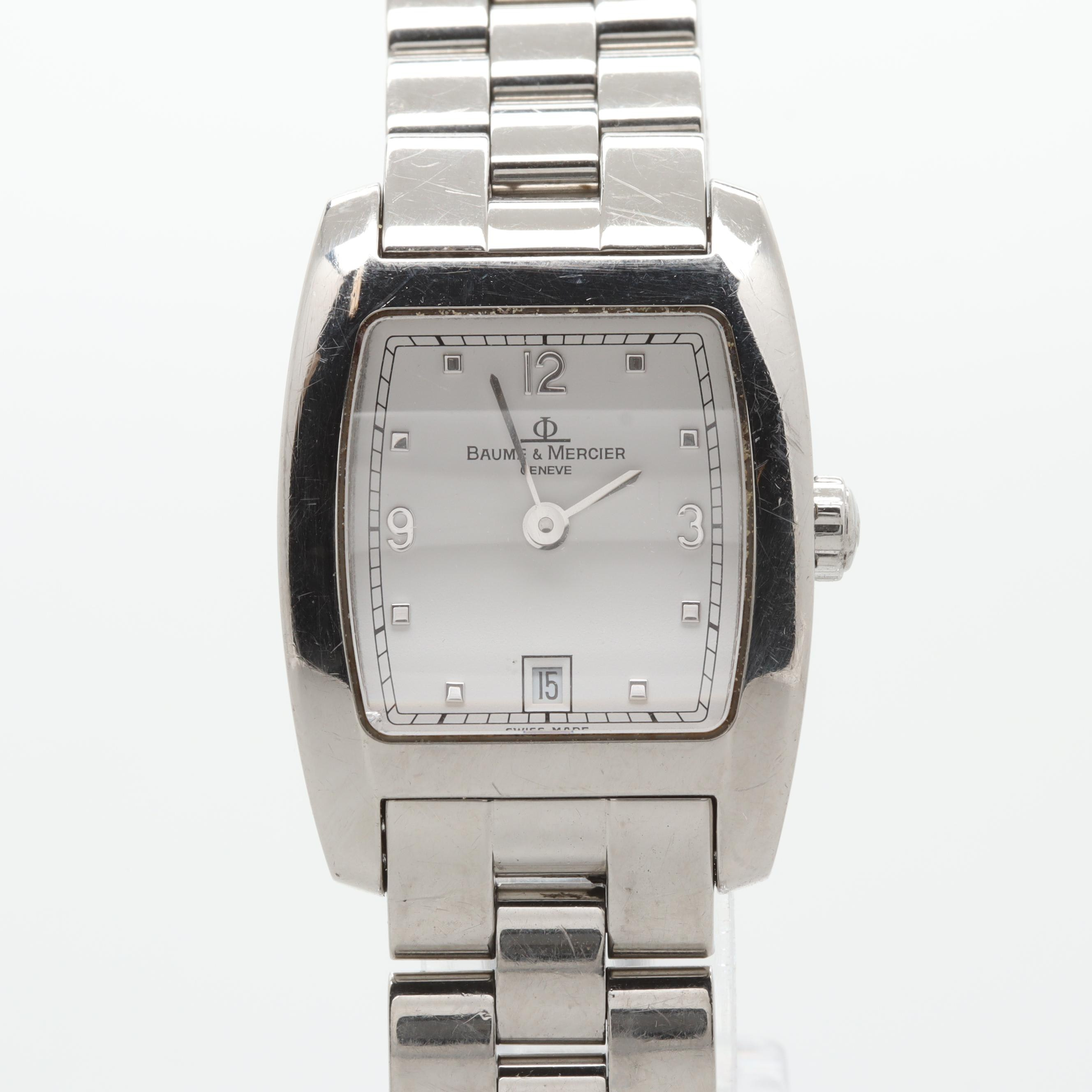 Baume & Mercier Stainless Steel White Dial Wristwatch