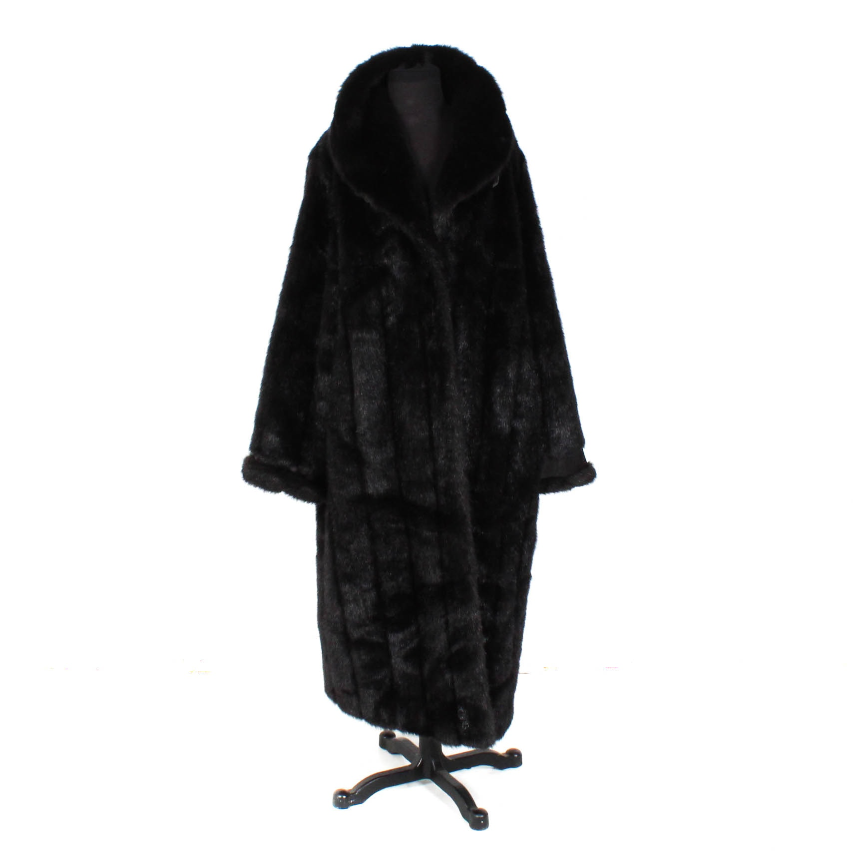 Terry Lewis Black Faux Mink Coat