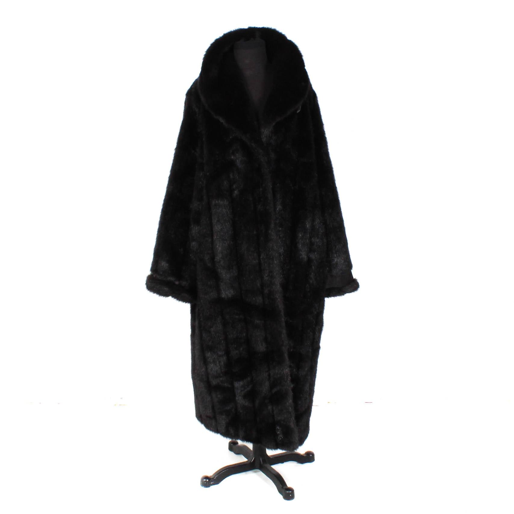 Terry Lewis Black Faux Mink Coat