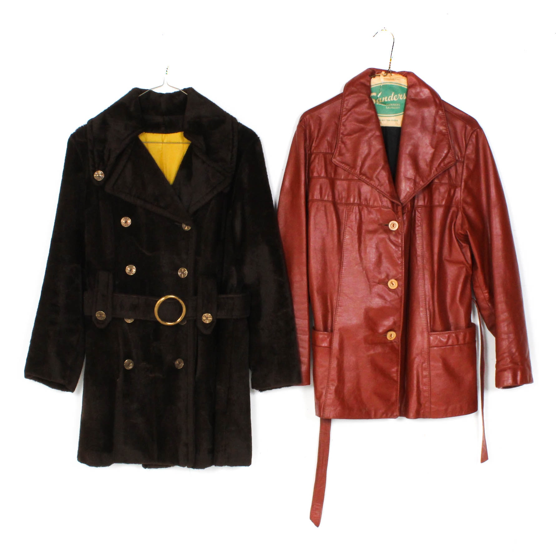 1970s Vintage Faux Fur and Leather Jackets