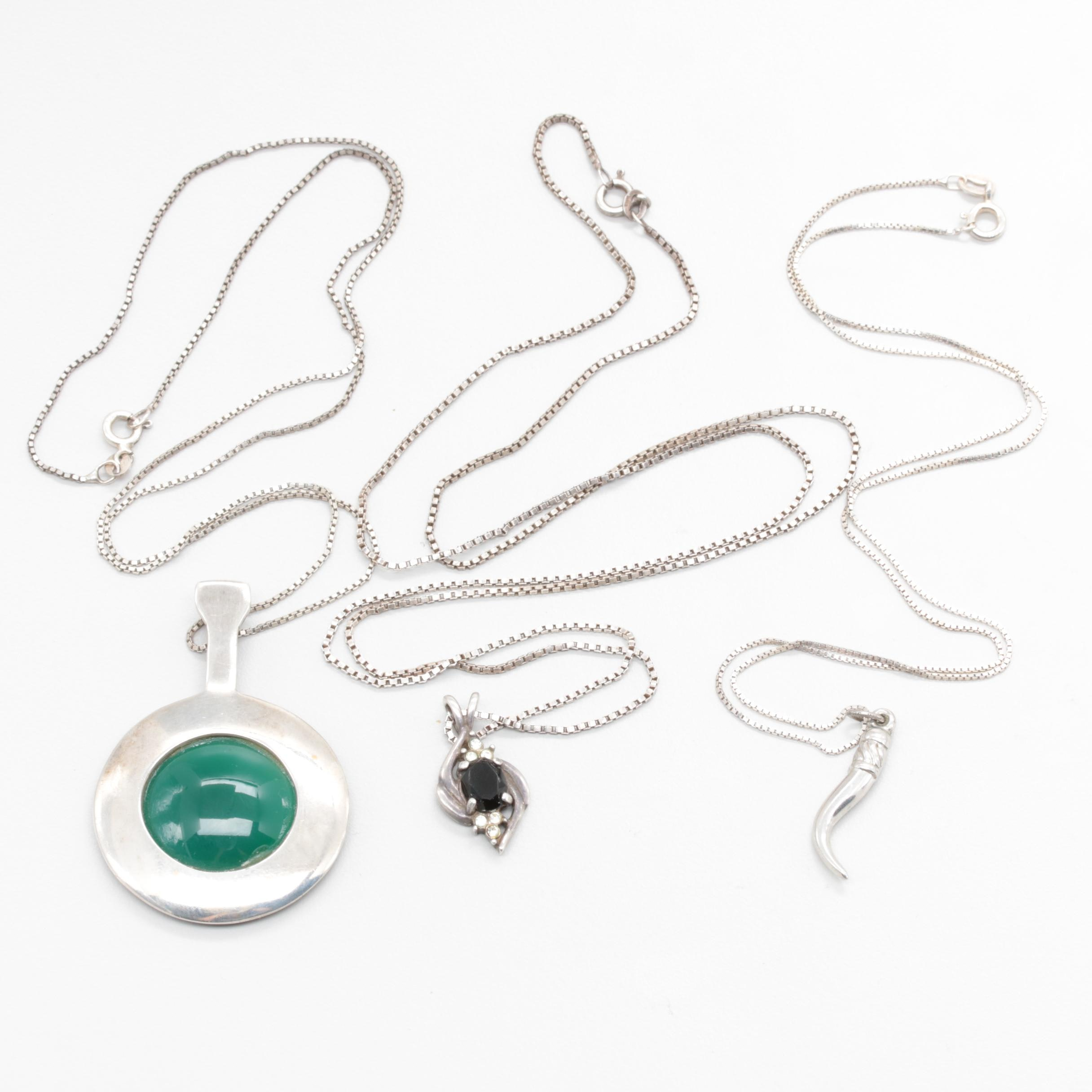 Assorted Sterling Silver Gemstone Necklaces