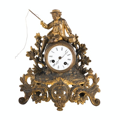 French Gilt-Metal Figural Mantel Clock, Late 19th Century