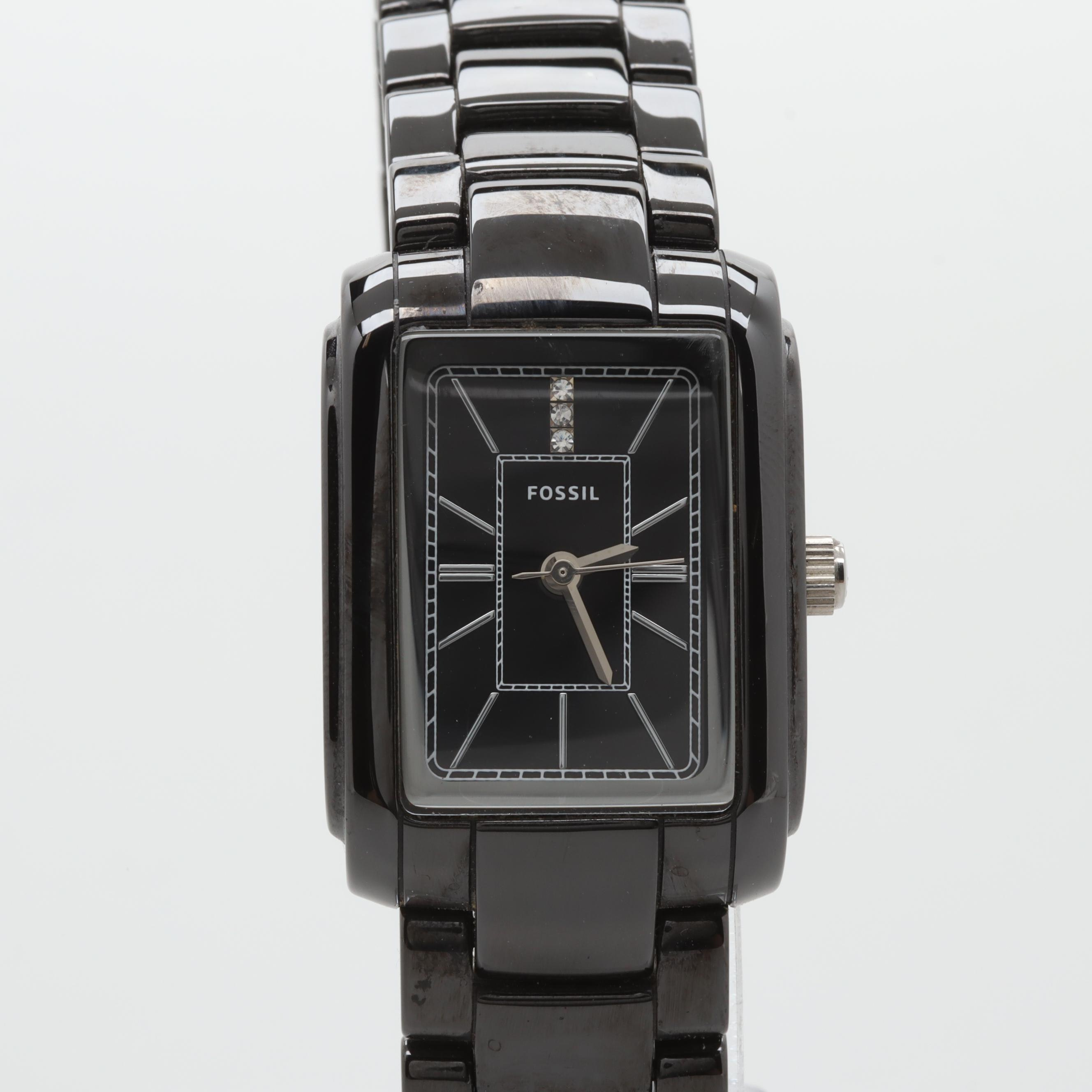 Fossil Black Ceramic and Stainless Steel Rectangular Wristwatch