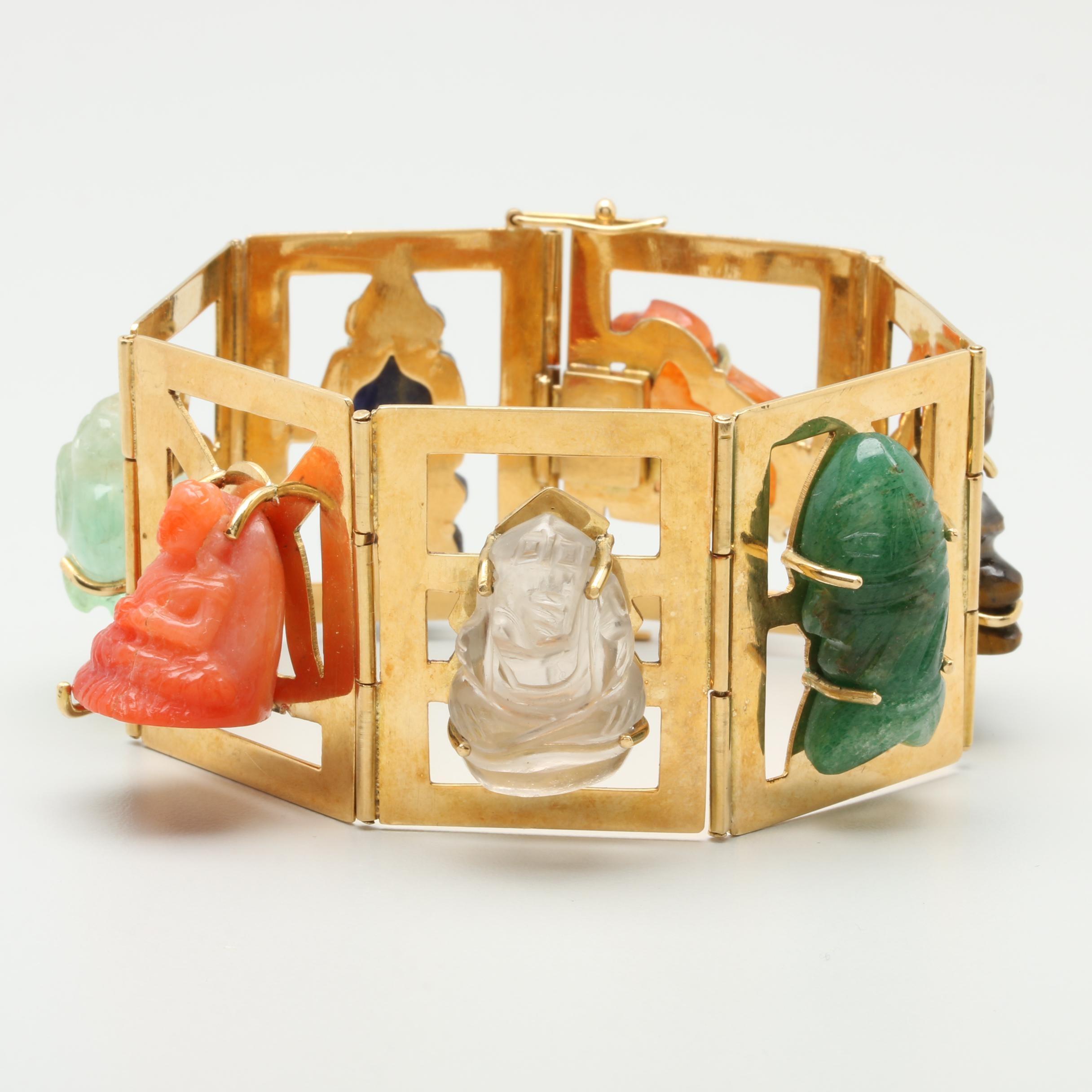 Oswaldo Guayasamin 18K Yellow Gold Carved Gemstone Bracelet Including Coral